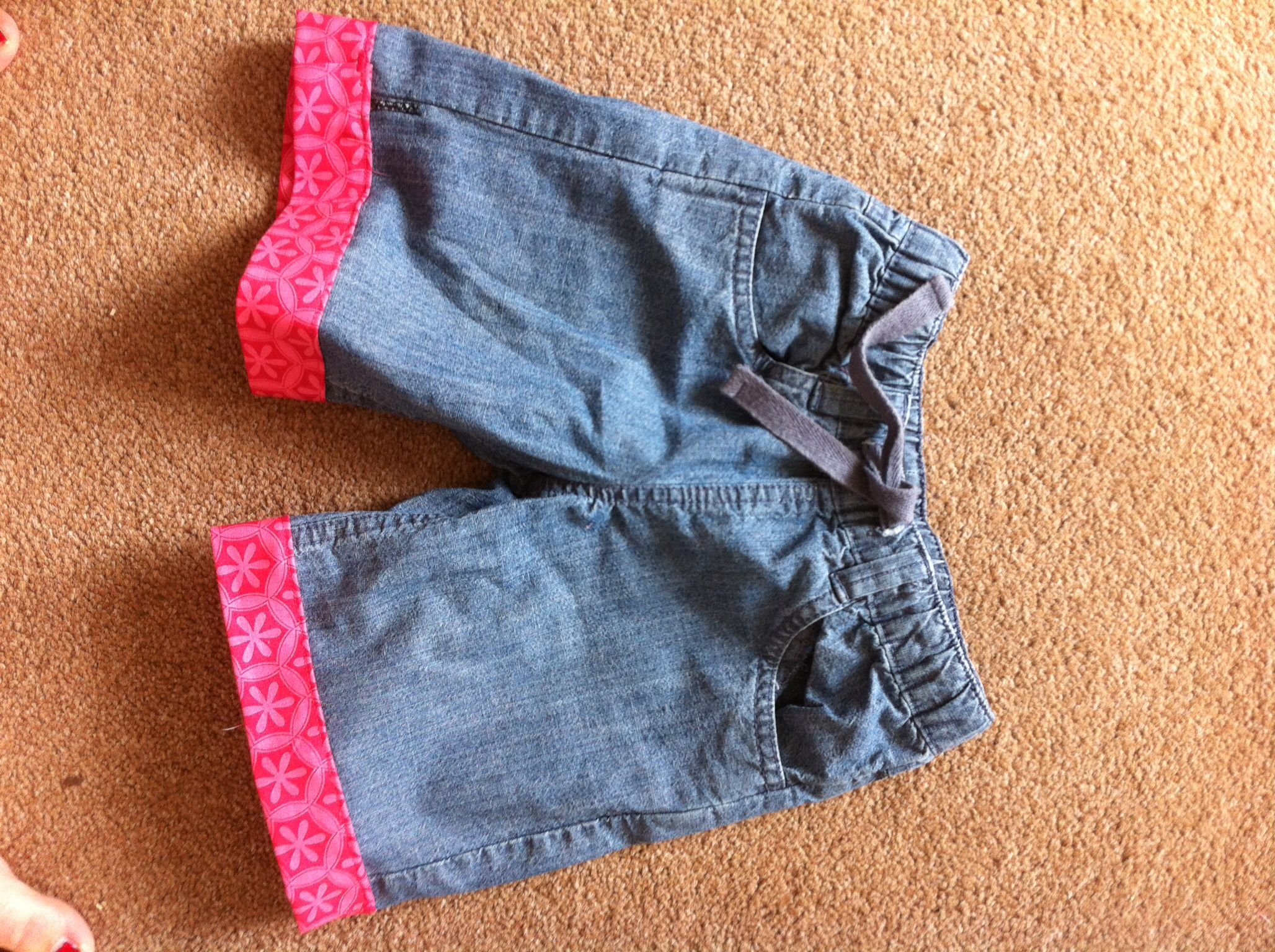 Cut off some trousers to make shorts for the little lady
