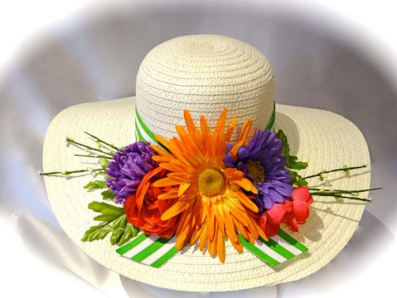 Bright Garden Kentucky Derby Hat White Spring by Marcellefinery, $48.00