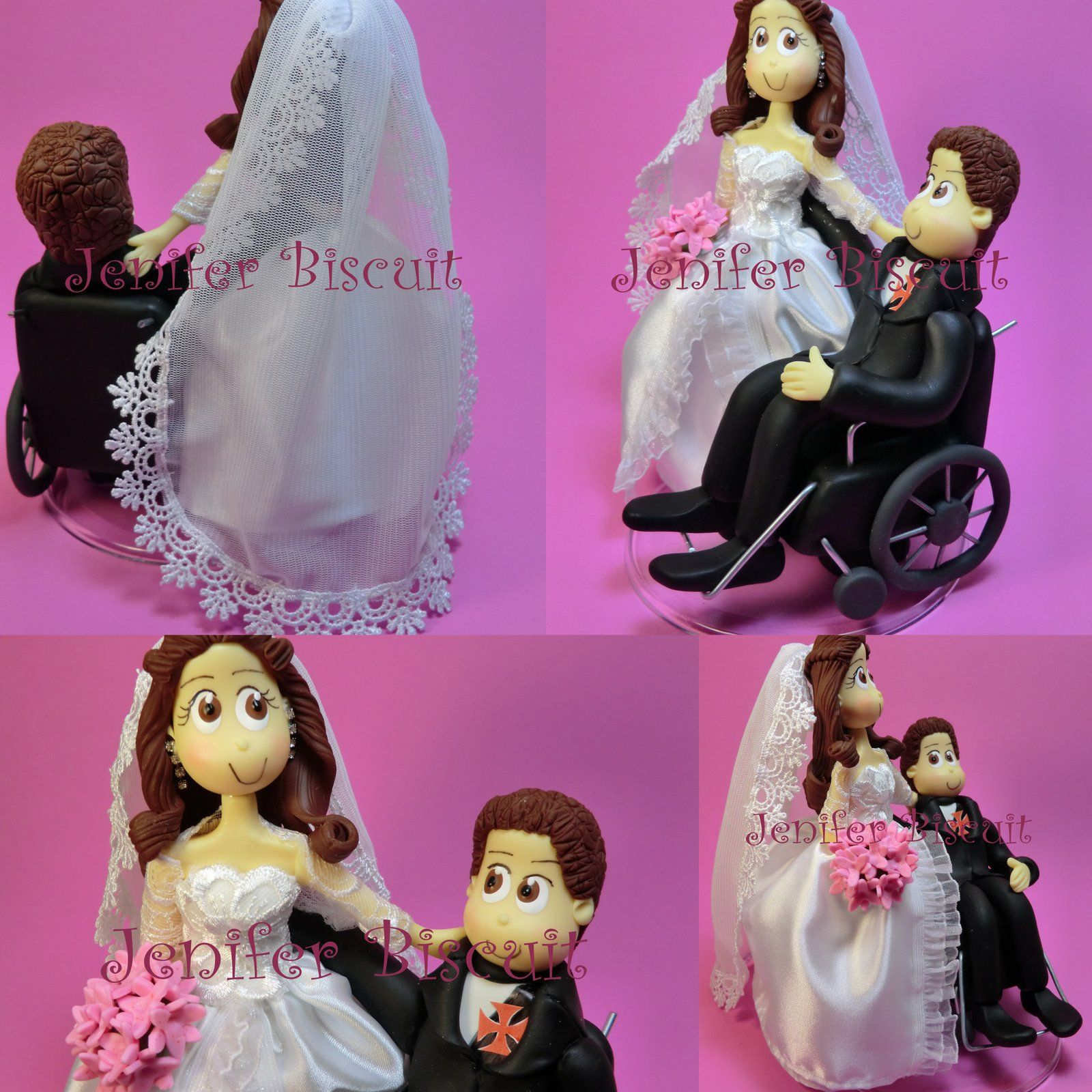 Beautiful bride and groom in a wheelchair wedding cake toppers beautiful bride and groom in a wheelchair wheelchair weddingwheelchairswedding cake topperswedding biocorpaavc Images