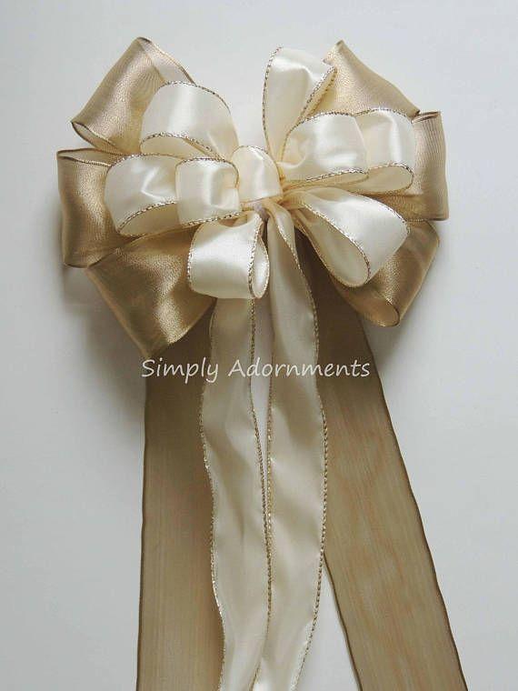 Gold Ivory Wedding Pew Bow Ivory And Gold Wedding Ceremony Gold Ivory Wedding Pew Bows Wedding Gold Wedding Ceremony Decor
