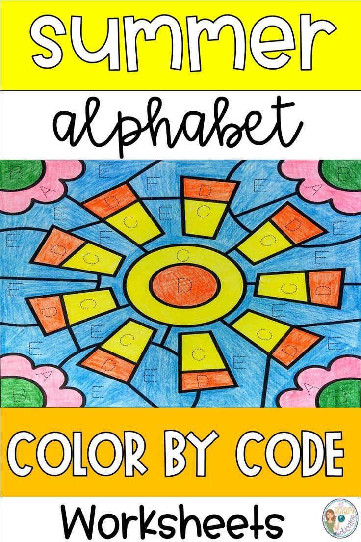 Summer Color by Letter Worksheets | Letter identification ...