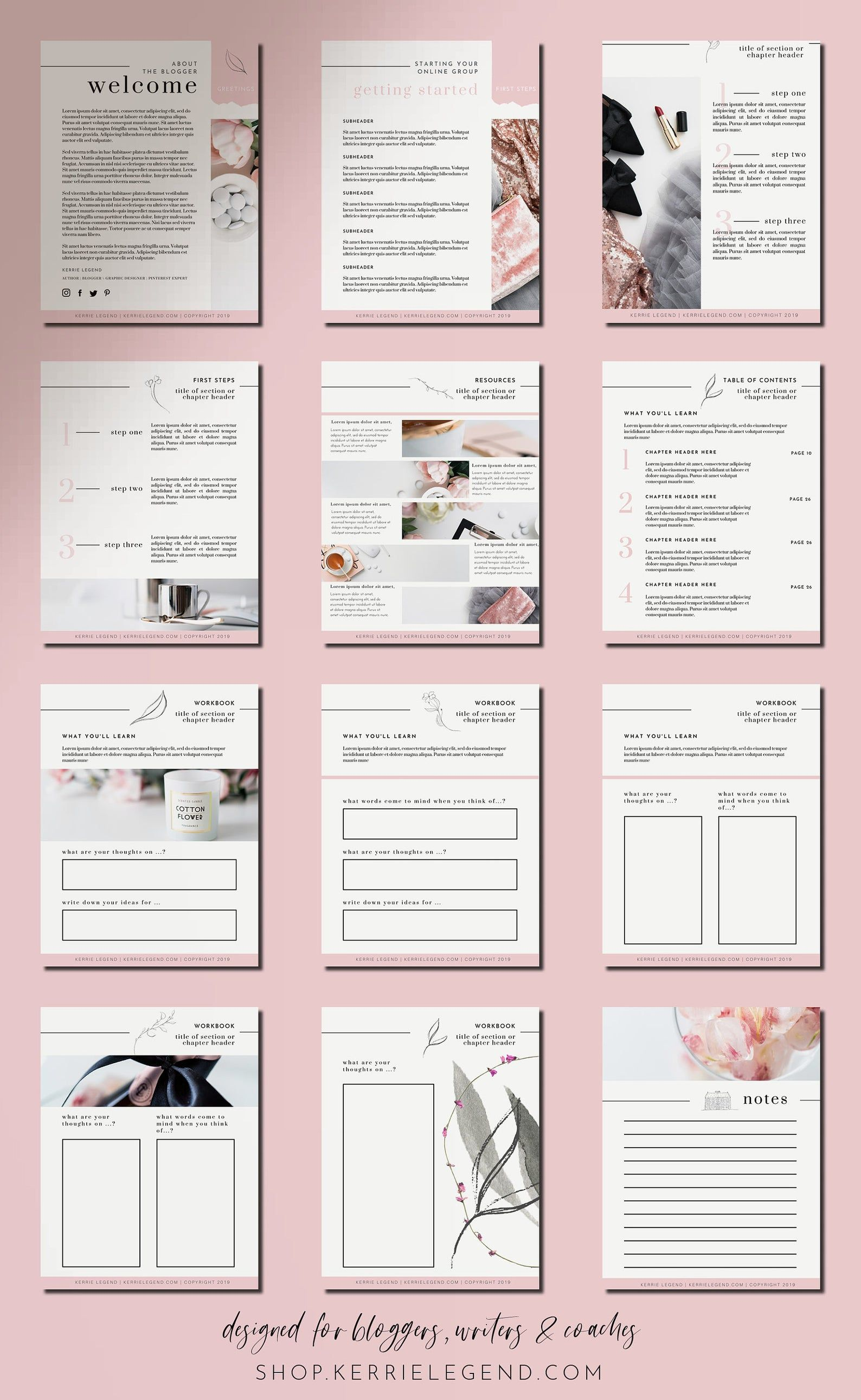 Feminine eBook & Workbook Canva Template Design -