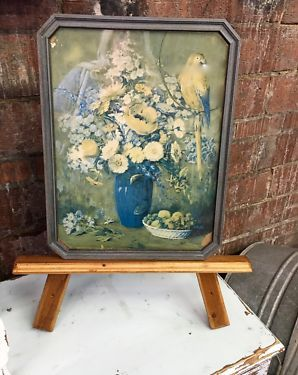 """Framed 1925 Floral Print With Bird   13"""" Wide x 17"""" High   $52  Dallas Vintage Market Booth #7777  White Elephant 1026 N. Riverfront Blvd. Dallas, TX 75207   Like us on Facebook: https://"""