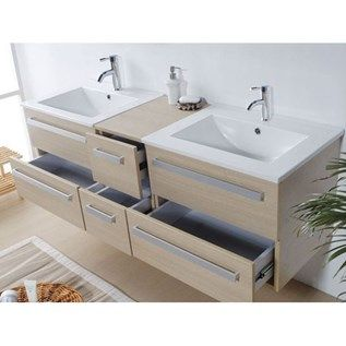 Meuble double vasque   tiroirs miroir inclus beige – Madrid