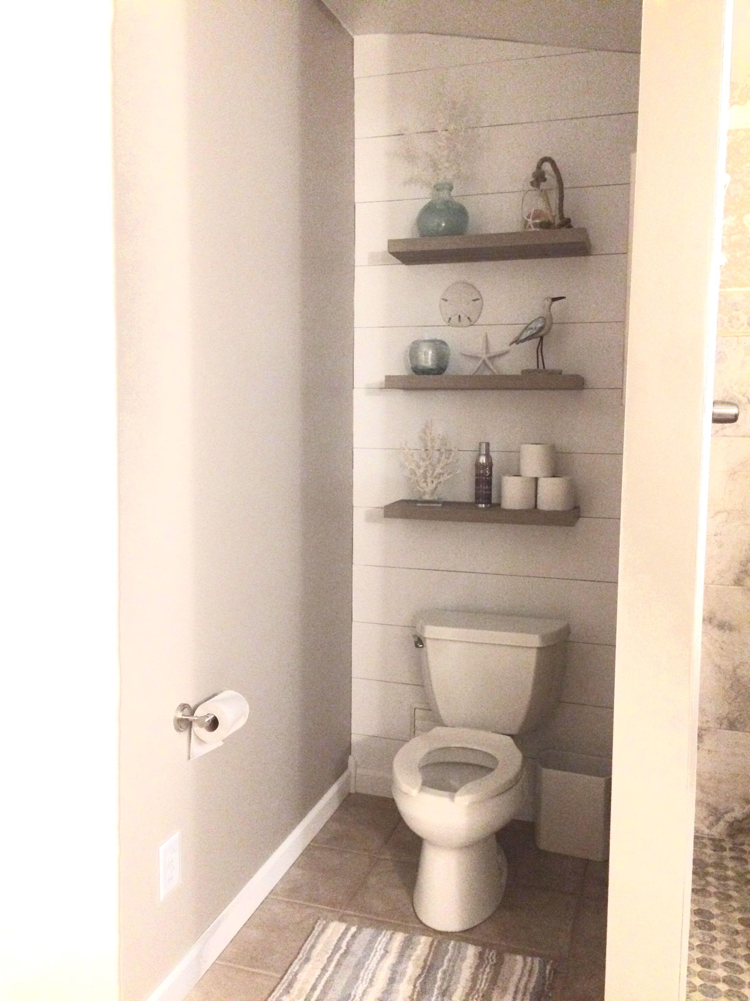 Enclosed Toilet Area Walk In Shower Shiplap Behind