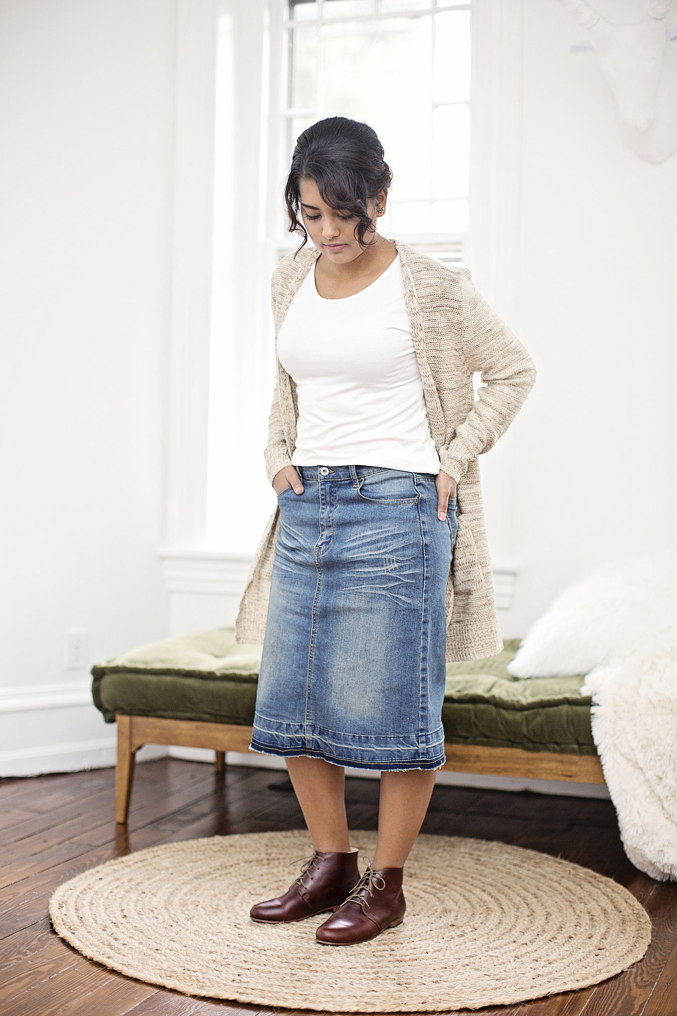 Distressed Knee Length Denim Skirt | Modest apparel and sorts ...