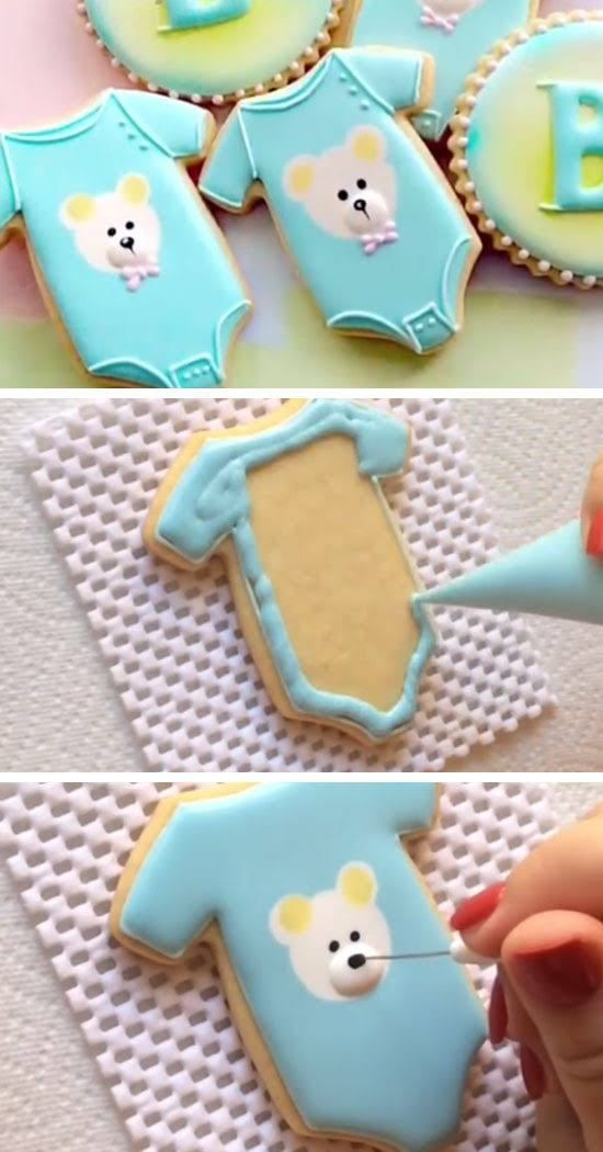 Baby Onesie Cookies | DIY Baby Shower Party Ideas For Boys | Inexpensive  Baby Shower Favors