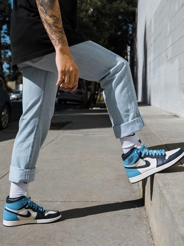 Men's Light Blue Nike Air Jordans 1