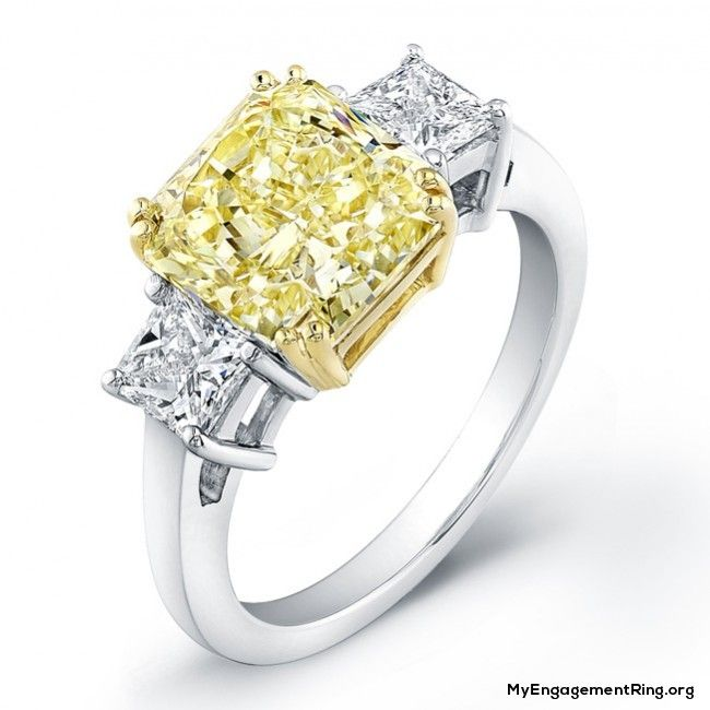I Already Have The Platinum 3 Stone Diamond Ring 1 Karat Middle Sto Yellow Diamond Engagement Ring Three Stone Diamond Rings Engagement Yellow Engagement Rings