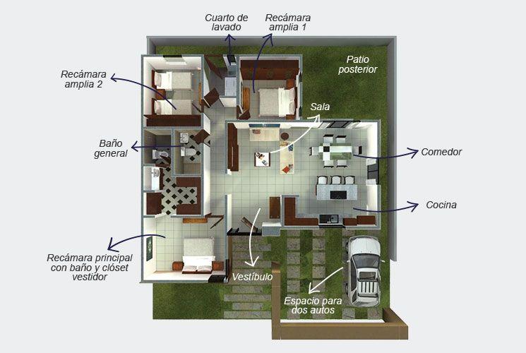 Planta Arquitectónica de un piso. El modelo Kavana consta de ...