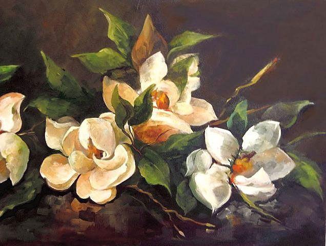 Olgemalde Magnolienmalerei Auf Leinwand Auf Leinwand