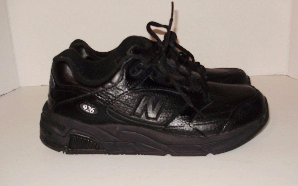 Black Leather Rollbar Walking Shoes