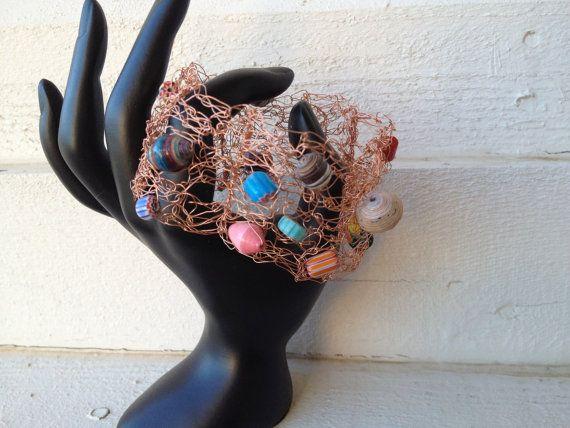 Whimsical Slip On Bronze Wire Crochet Wooden by LadybugCharJewelry, $15.00