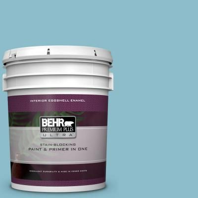 Behr Premium Plus Ultra 5 Gal S460 3 Blue Echo Eggshell Enamel Interior Paint And Primer In One Interior Paint Exterior Paint Behr
