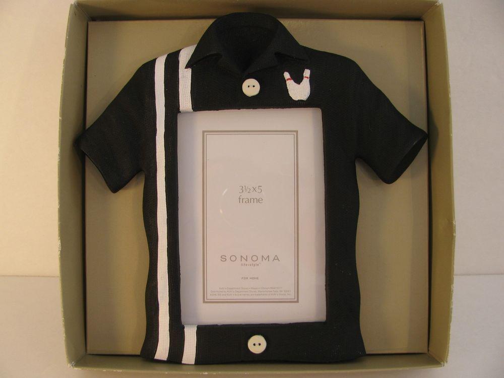 Bowling Shirt Pin Tabletop Photo Frame Black White Stripe 3 1/2 X 5 ...