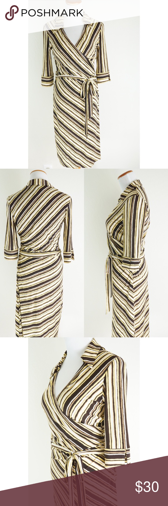"""LAUNDRY Shelli Segal Retro Faux Wrap Dress Cheers to the 60s style woman! Step into class with this collared faux wrap dress from Laundry by Shelli Segal. Yellow and brown toned stripes create a slimming and streamlined look. Tie at waist, and ruching on left side. Sleeves have slit at cuff. Approx flat meas: length 42"""", sleeve 14"""", bust 17"""", waist 13"""", hips 16"""". 98% polyester 4% elasthane.  dry clean. EUC no rips stains or holes. Material is stretchy Laundry by Shelli Segal Dresses"""