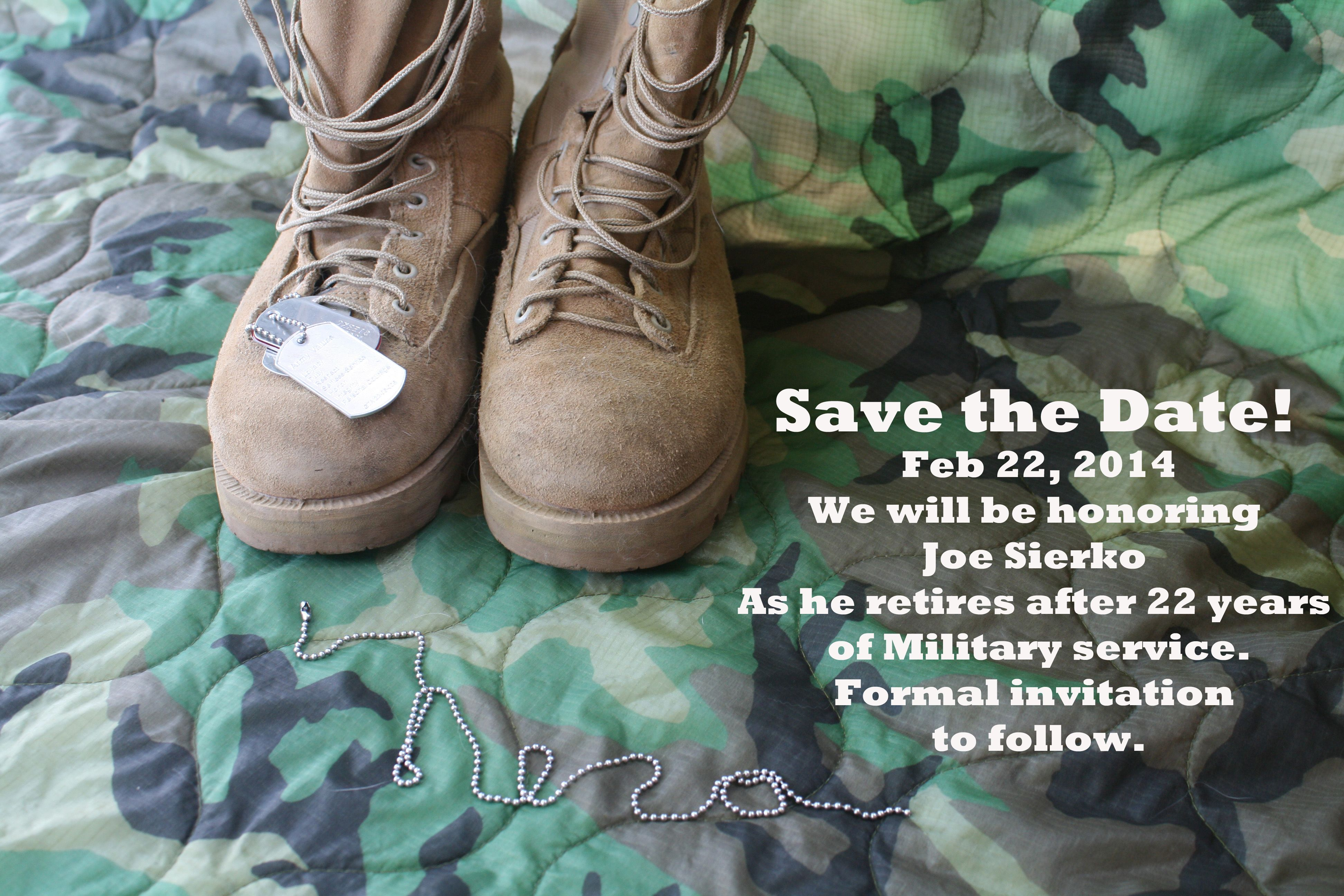 save the date for husbands military retirement Military
