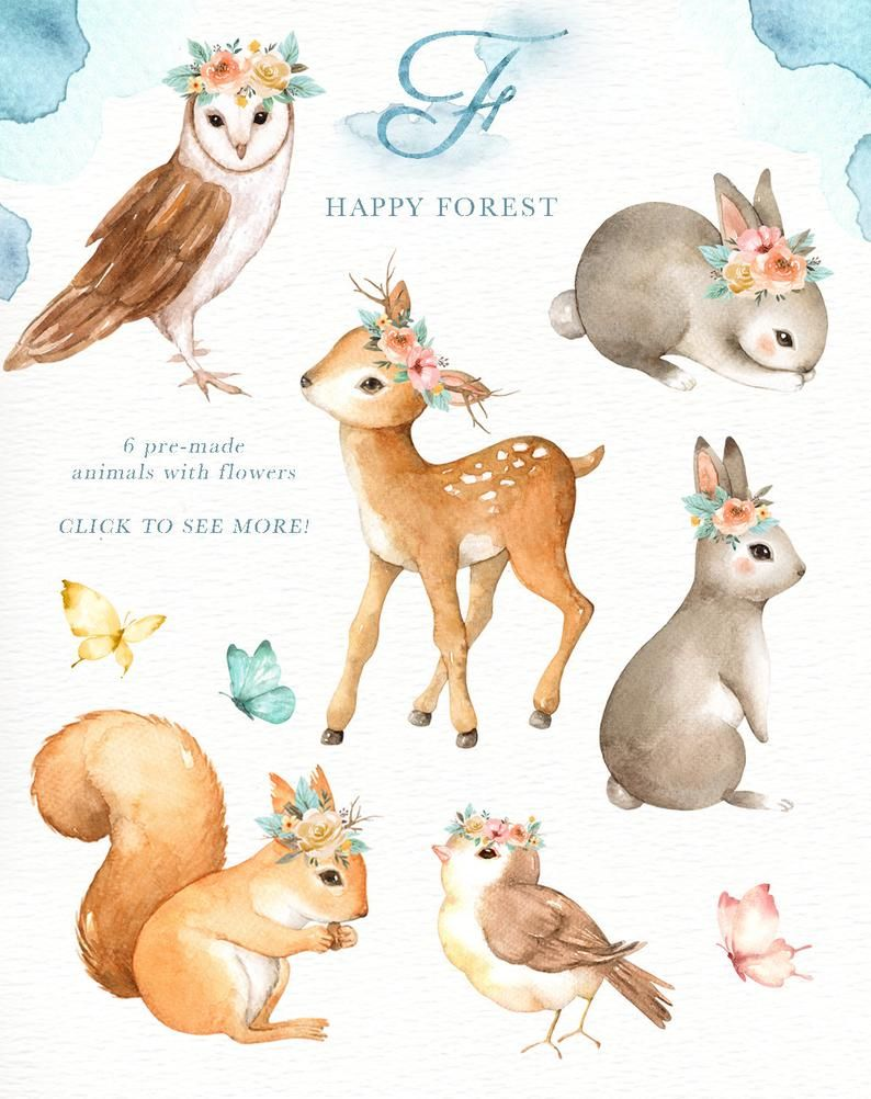 Happy Forest Watercolor Clip Art,Woodland Animals, Kids