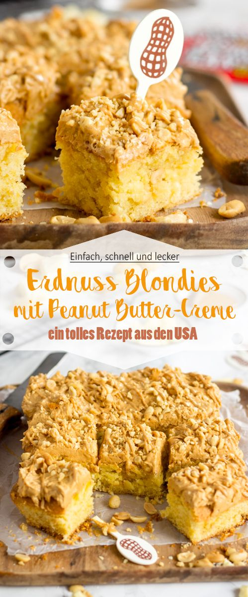 Erdnuss Blondies mit Peanut Butter-Creme #frostings