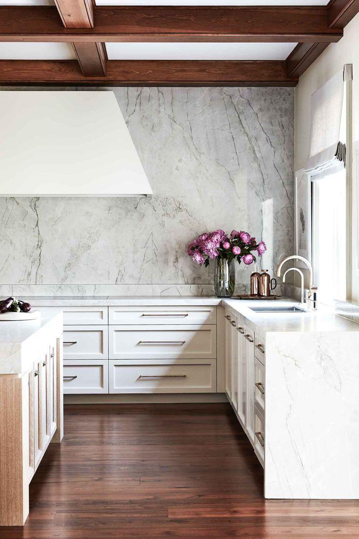 Marble Slab Backsplash White Kitchen Cabinets Minimalist