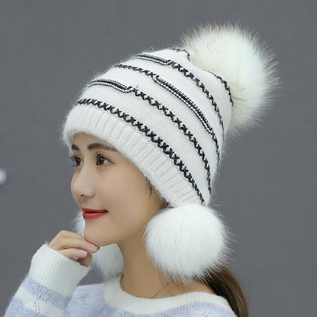 a923f150ad9 Winter Thicker Knitted Women Hat Fox  amp  Rabbit Fur Keep Warm Fashion  White Color Beanies