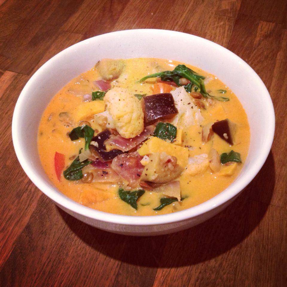 recipe: aubergine spinach curry coconut milk [13]