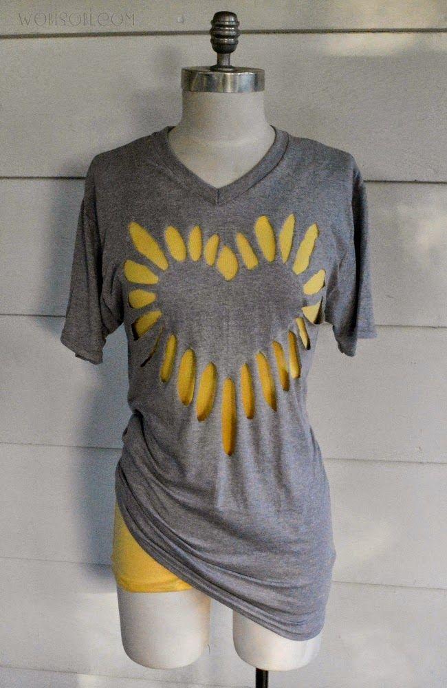 22fcc27b739d6 Heart Cut-out Shirt, DIY | WobiSobi Tee-Shirt DIY | Cutout shirts ...