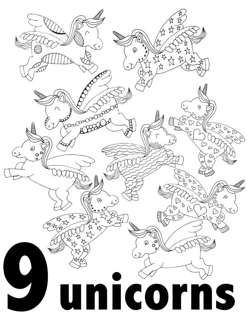 Unicorn Numbers 1 10 Free Printable Pages For Preschool Kindergarten Stevie Doodles Unicorn Coloring Pages Kindergarten Coloring Pages Free Coloring Pages