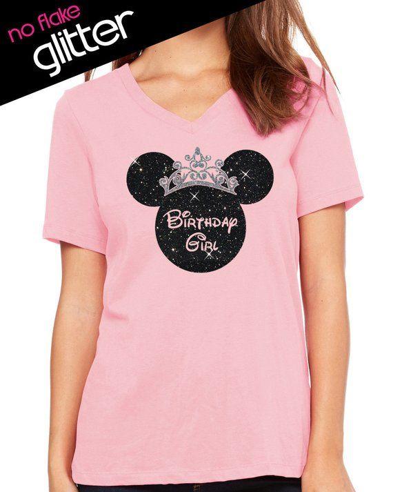 GLITTER Disney Birthday Girl Crown Minnie V Neck Disneyland Shirt Cinderella Castle Dis