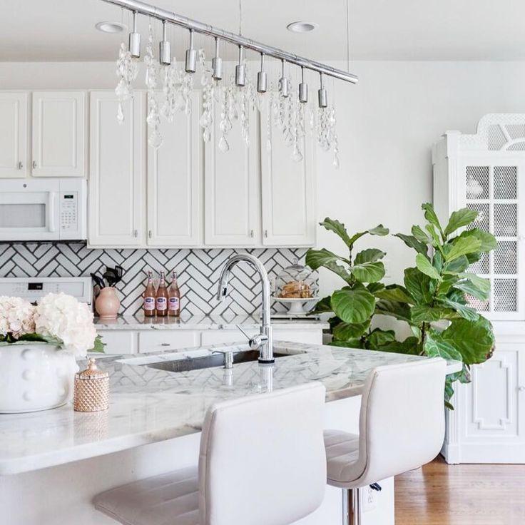 Painted Kitchen Ideas For Walls: Herringbone Brick Stencil Design