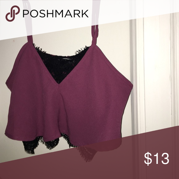 Tobi crop top Never worn black lace and maroon crop top. Can be paired with high waisted black skirt and heels. Never worn but no tags. Maroon/pinky color Tobi Tops Crop Tops