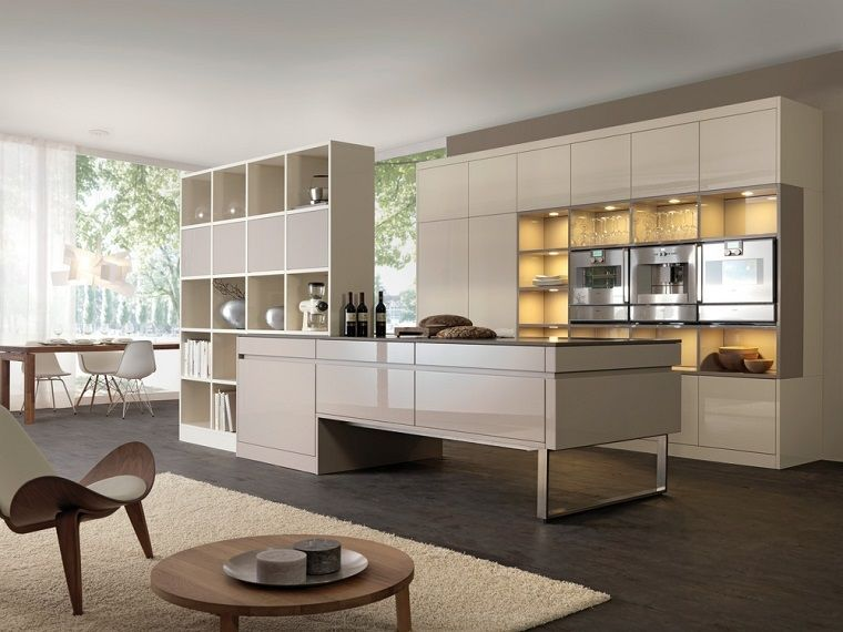 cocina moderna con isla de color crema preciosa | Cocinas ...