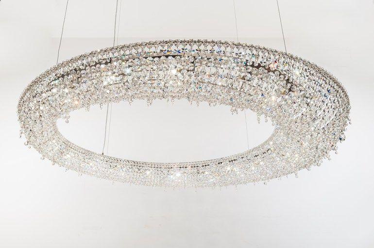 Plafoniere Cristallo E Acciaio : Lampada a sospensione alogena in acciaio e cristallo stile