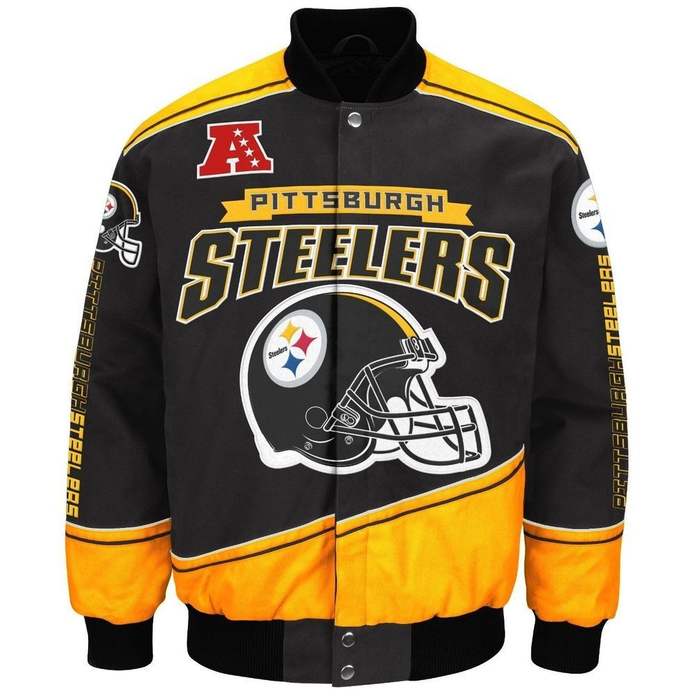 "Pittsburgh Steelers Men's NFL G-III ""Enforcer"" Premium Twill Jacket #GIII #PittsburghSteelers"