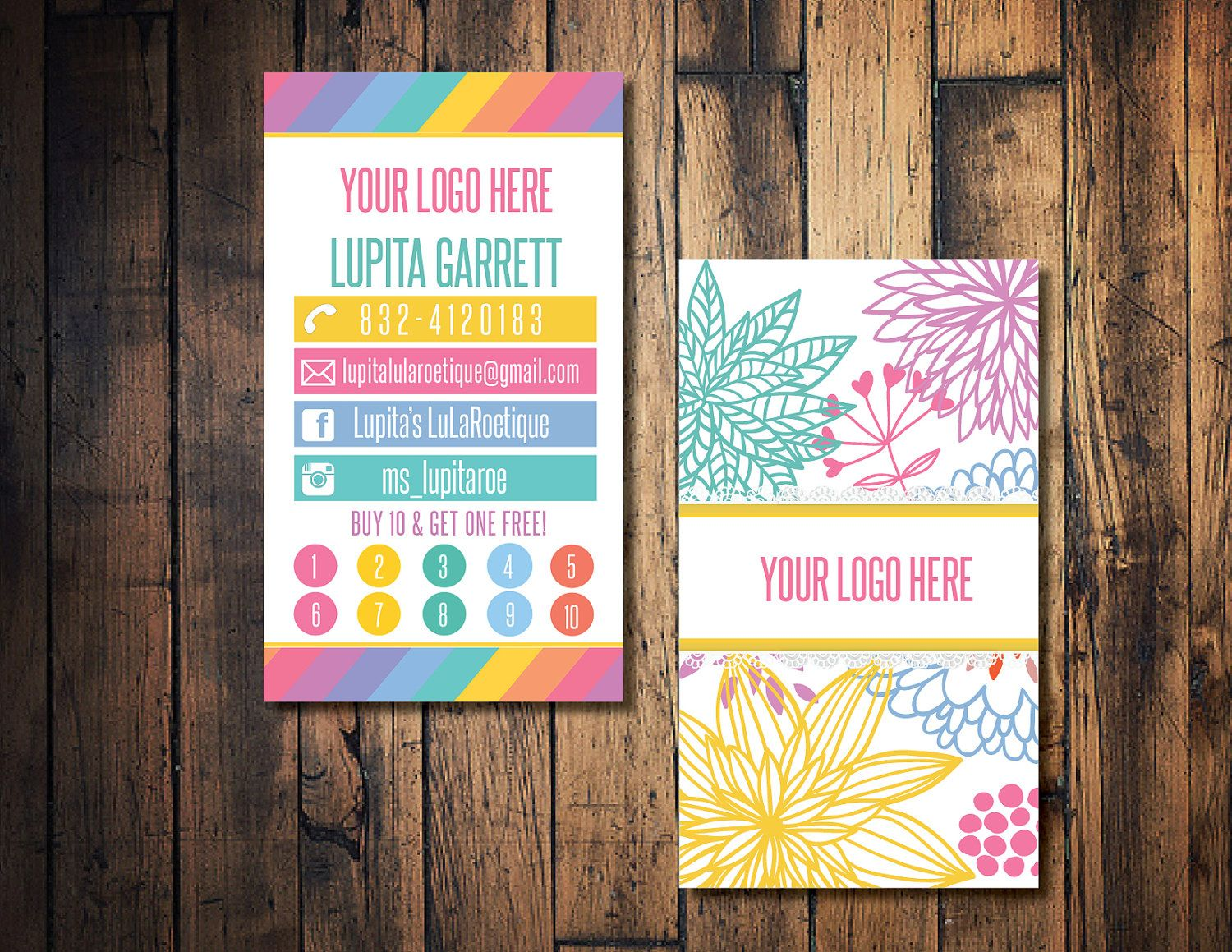 Floral Business Card Punch Home Fashion Buy 10 Get One Free By TheWrightIn