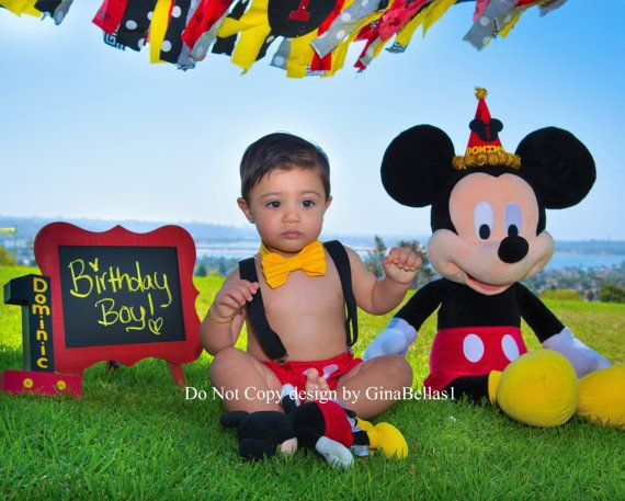 Mickey Mouse Birthday Cake Smash Outfit Ears By GinaBellas1