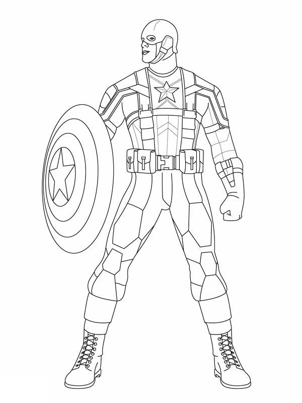 Marvel Heroes Captain America Coloring Page