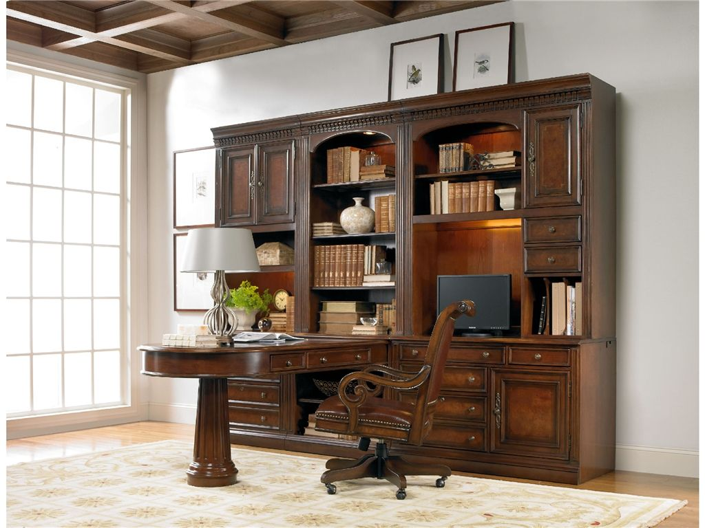 Beau Hooker Furniture Home Office European Renaissance II Peninsula Desk Complete