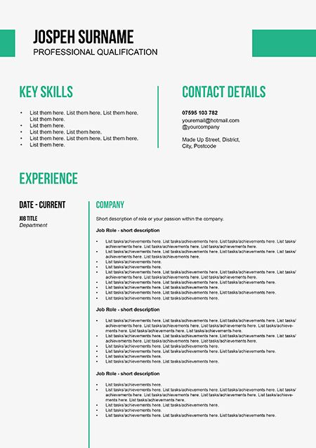 clean business cv template by doric design