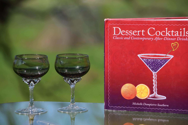 Vintage Olive Grey With Clear Twisted Stem Cocktail Wine Glasses Set Of 4 Vintage 4 Oz After Dinner Drinks Port Etched Wine Glasses Drinks Cocktail Desserts
