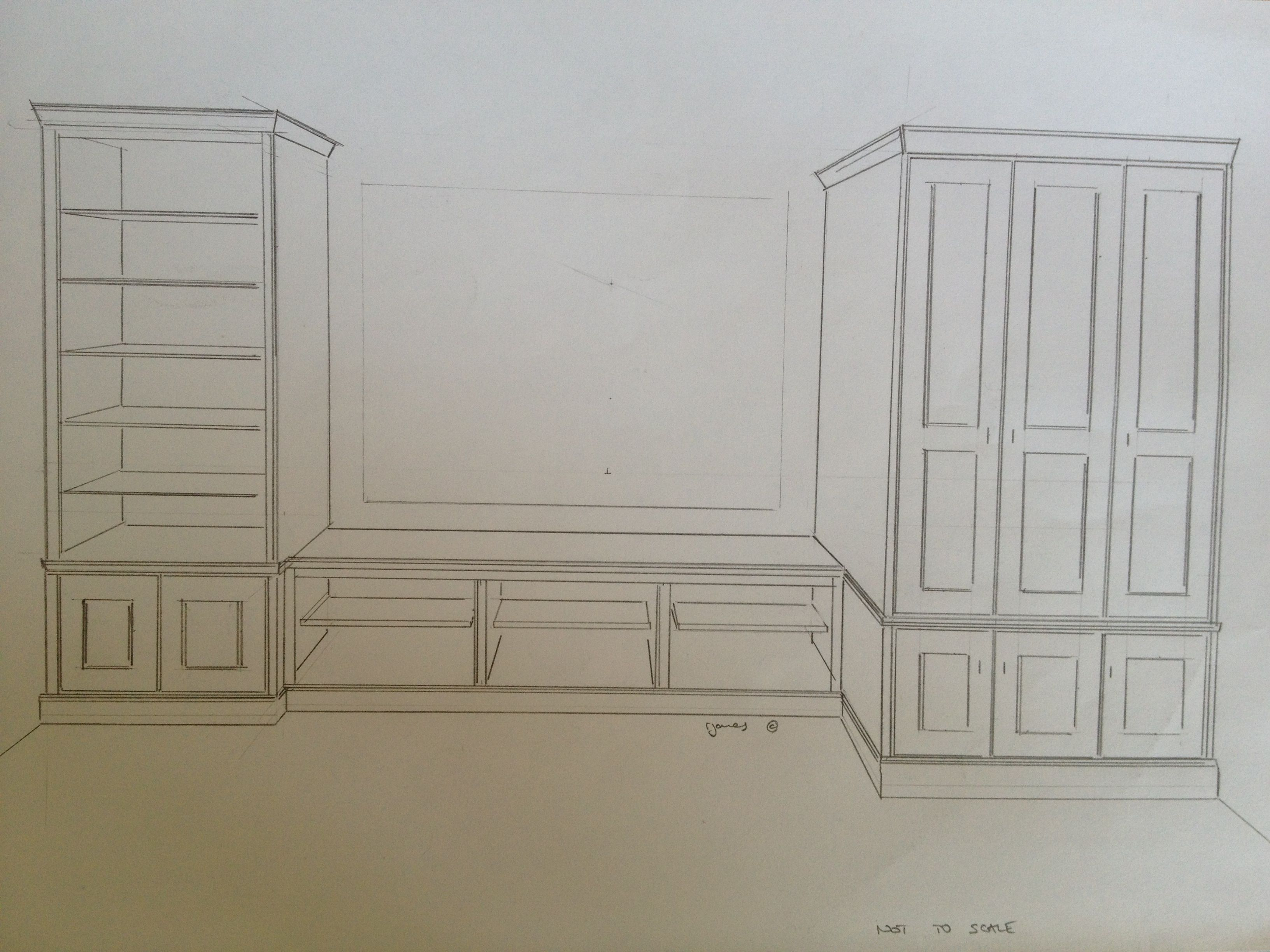 sketch for bookcase / window seat and wardrobe project www, Wohnzimmer dekoo