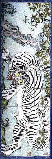 Big Tiger painting on porcelain, Minhwa (Korean folk art), Chosŏn era (17th–19th century)