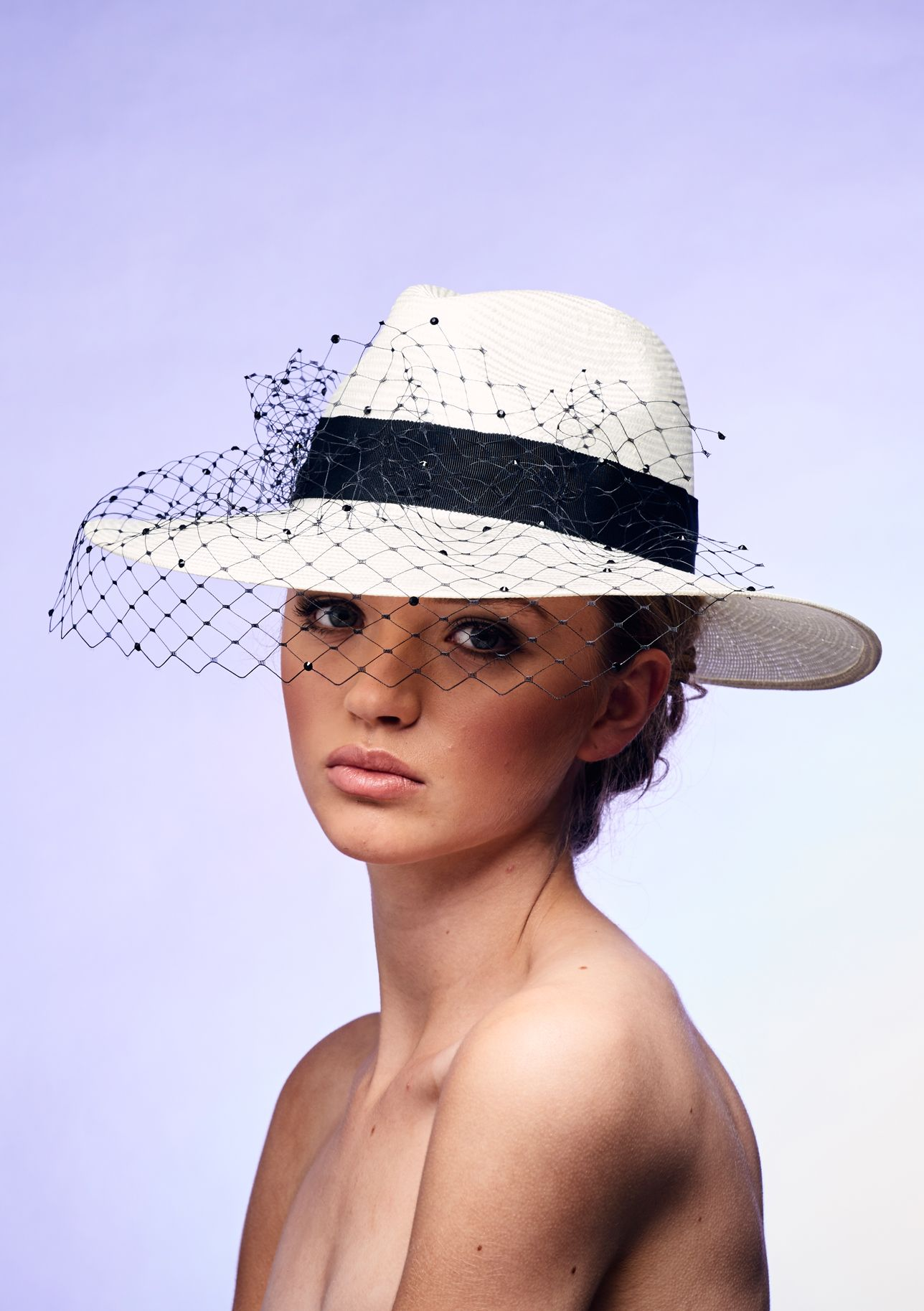 08dd6cec Bespoke Wedding Hat Black Veiling & Swarovski Crystals | Rosie ...