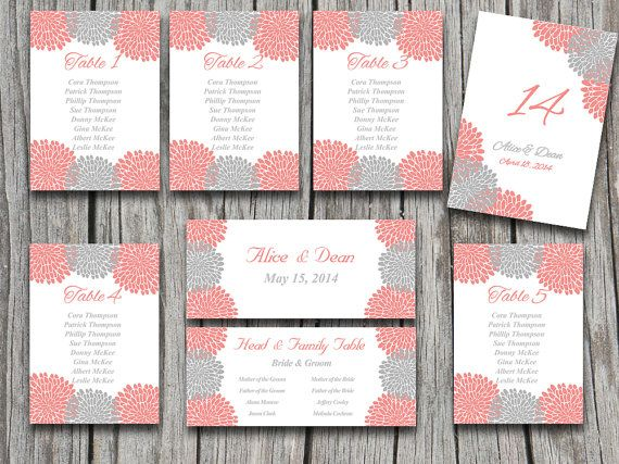 Wedding Seating Chart Template  Chrysanthemum Gray Beach Coral