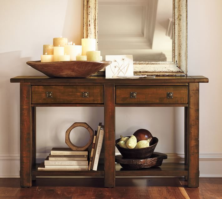 Pottery Barn Benchwright Console Table Rustic Mahogany Reclaimed Wood Console Table Wood Console Table Decor