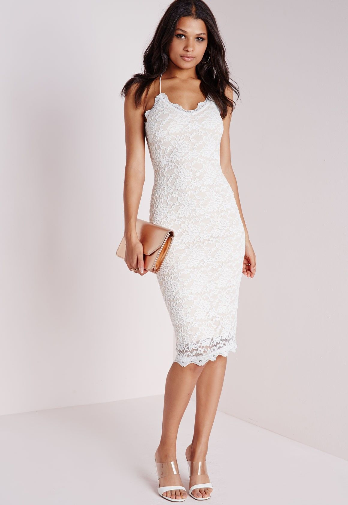 f6734ba6b5 I kind of really like this dress. | Missguided - Tall Strappy Lace Midi Dress  White