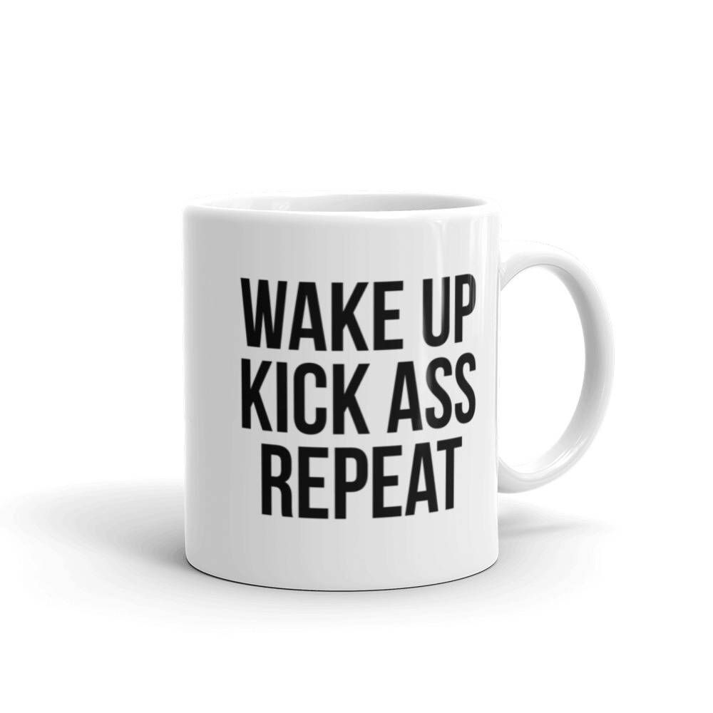 office mug. Wake Up Kick Ass Repeat Mug | Funny Office Girl Boss Gift For Quote Statement Novelty -