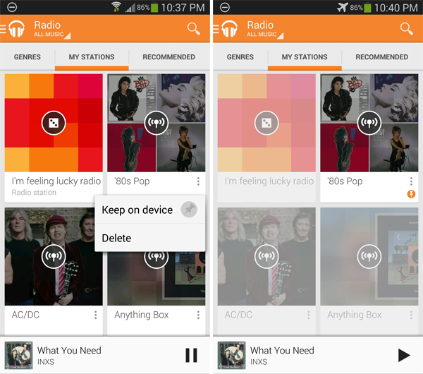 Save Google Play Music radio on Android for offline
