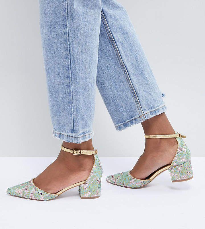 8760351b02f Asos DESIGN Sizzle Embellished Mid Heels