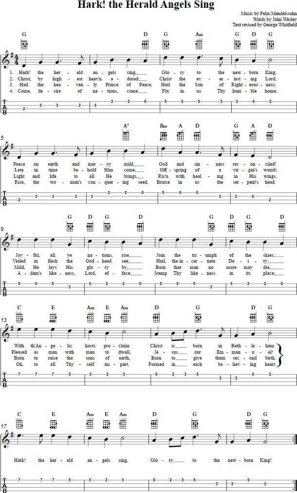 Hark The Herald Angels Sing Ukulele Sheet Music Ukulele